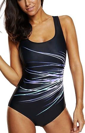 59a6db9e9b CharmLeaks Womens Sports Swimsuit One Piece Racerback Swimwear Swimming  Costume