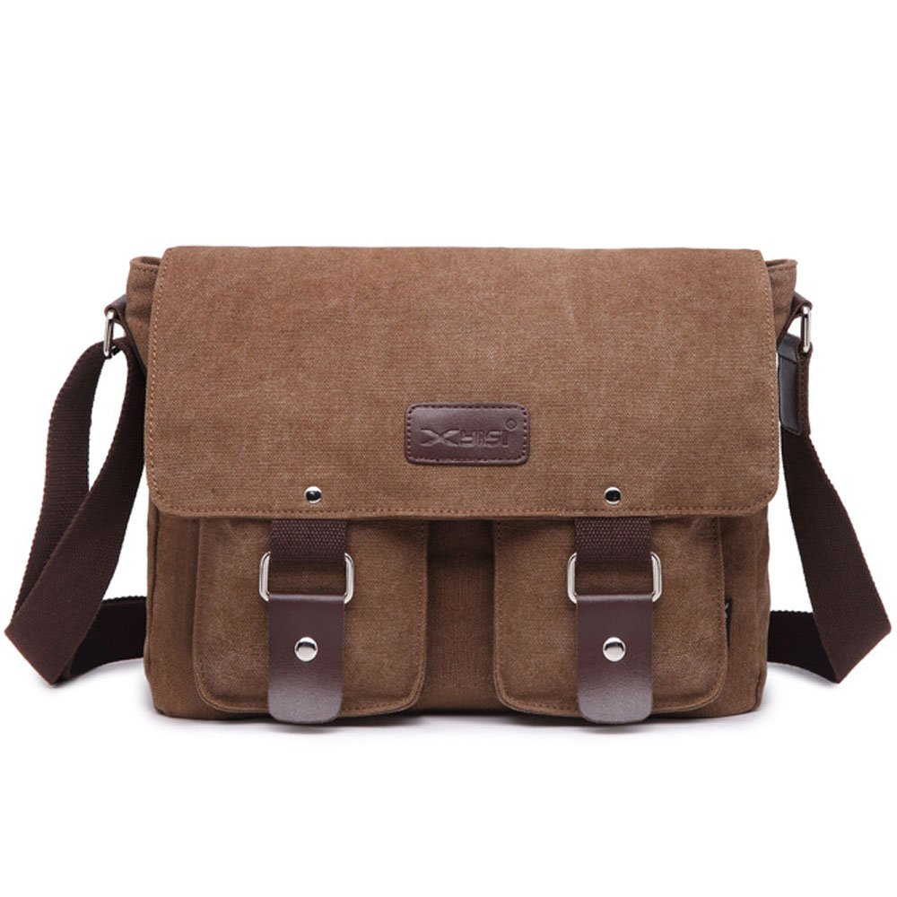 Men's Shoulder Bag Canvas Leather Messenger Crossbody Sling Side School Bag