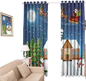 oobon Shades Window Curtains, Christmasations Classic Eve Scene Santa Delivering Gift with Rudolf The Red Nosed Reindeer, Blackout Curtain 84 Inch for Home Kitchen Room, 120x84 inch