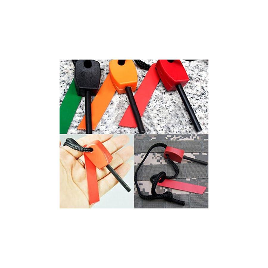 Bluelans 3 x Fire Starter Steel Flint & Striker Survival Tool Kit Outdoor Camping Living Survival Tool (Random Colour)