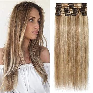 Tess Extensions Echthaar Clip In Ombre Guenstig 100 Remy Haarverlängerung 18 Clips 8 Tressen Lang Glatt Haar 2050cm 70g 12613 Hellbraunblond