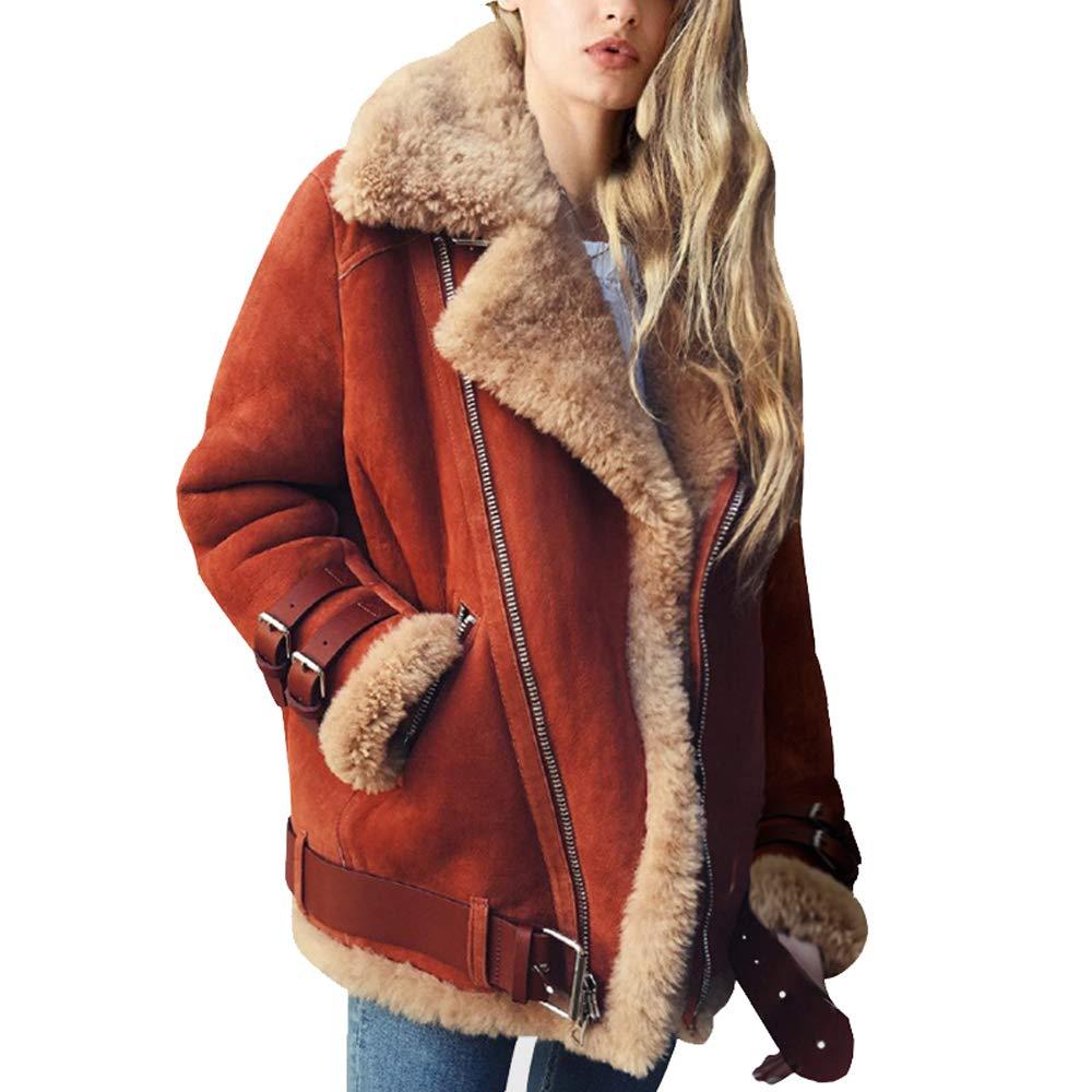 Brick Red Ultrafun Women Faux Suede Moto Jacket Casual Lapel Fleece Shearling Outwear Coat