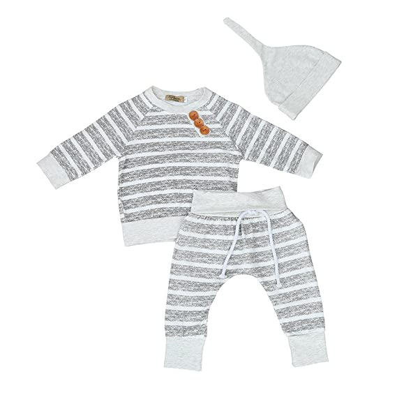 3PCS Newborn Kid Baby Boy Girl Striped T-shirt Tops Pants Hat Clothes Outfit Set