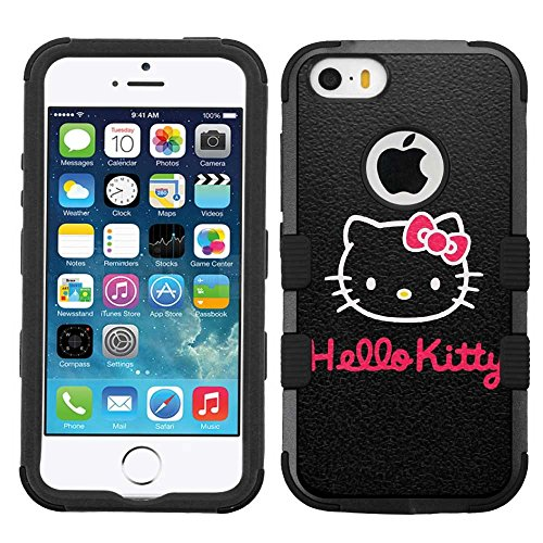 for iPhone SE/5/5s, Hard+Rubber Dual Layer Hybrid Heavy-Duty Rugged Armor Cover Case - Hello Kitty Black White (Hello Cases 5 Iphone Kitty)
