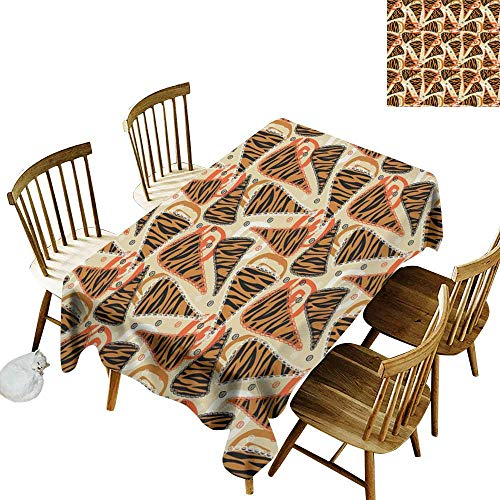 W Machine Sky Polyester Tablecloth African Tiger Skin Pattern in Triangle Frames on Abstract Spiral Motifs Pattern W60 xL90 for Family Dinners,Parties,Everyday Use