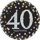 #7: Sparkling Celebration 40 Happy Birthday Paper Dinner Plates, Set of 8