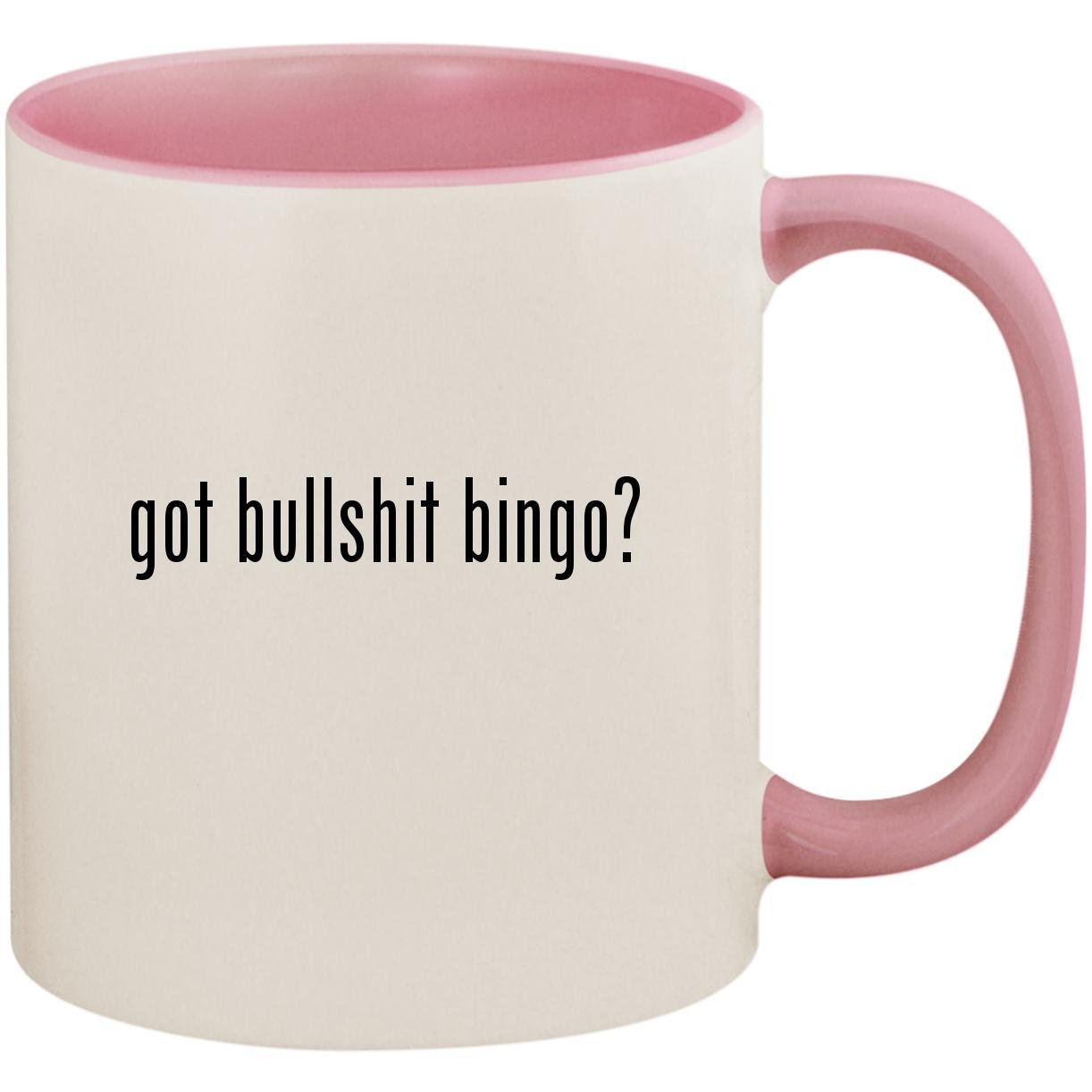 got bullshit bingo? - 11oz Ceramic Colored Inside and Handle Coffee Mug Cup, Pink