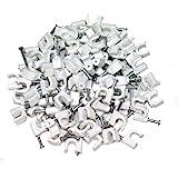 Aerzetix: 100x Attache-câble fils pontets 6mm fixation avec clou - C1757