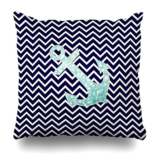 ONELZ Aqua And Navy Nautical Glitter Sparkles Anchor Square Decorative Throw Pillow Case, Fashion Style Zippered Cushion Pillow Cover (16X16 (Aqua Butterfly Kisses)