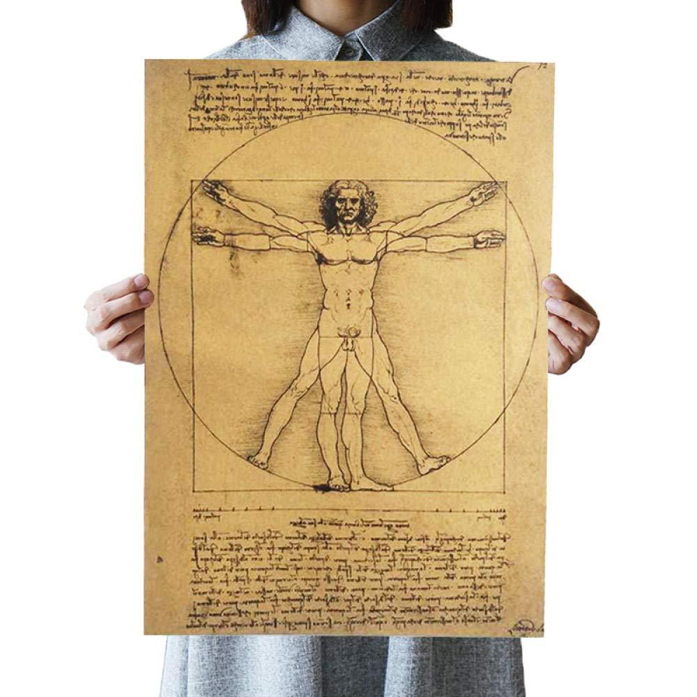 wwttoo Affiches de lhomme de Vitruve avec Papier Kraft nostalgique Noyau Vintage avec Peinture d/écorative-comme Spectacle