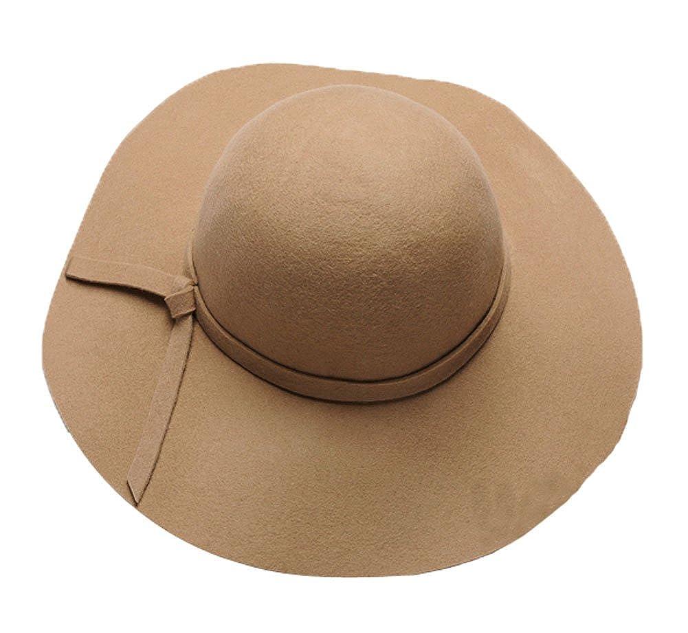 b727d9960e6b3 The Trendy Women Felt Wide Brim Fedora Top Hat  Camel at Amazon Women s  Clothing store