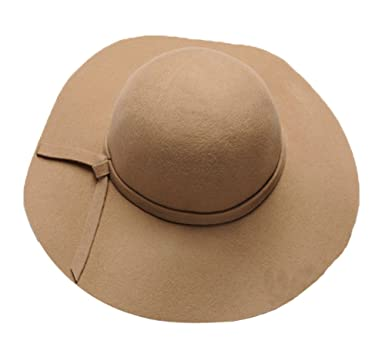 fdb03d3da7174 Image Unavailable. Image not available for. Color  The Trendy Women Felt  Wide Brim Fedora Top Hat  Camel