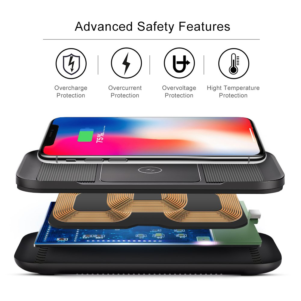 ARINO Wireless Charger Qi-Certified Fast Wireless Charger Waterproof 10W 7.5W 5W For Iphone X, Iphone 8/8 Plus, Samsung S9/S9+/S8/S8+/S7/Note 8 and Qi-Enabled Devices In Silicone and Plastic