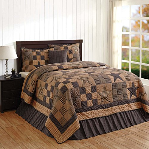 Bedding Brands Set (Primitive Country, Star Patch Blue King 5 Piece Quilt Set by VHC Brands)
