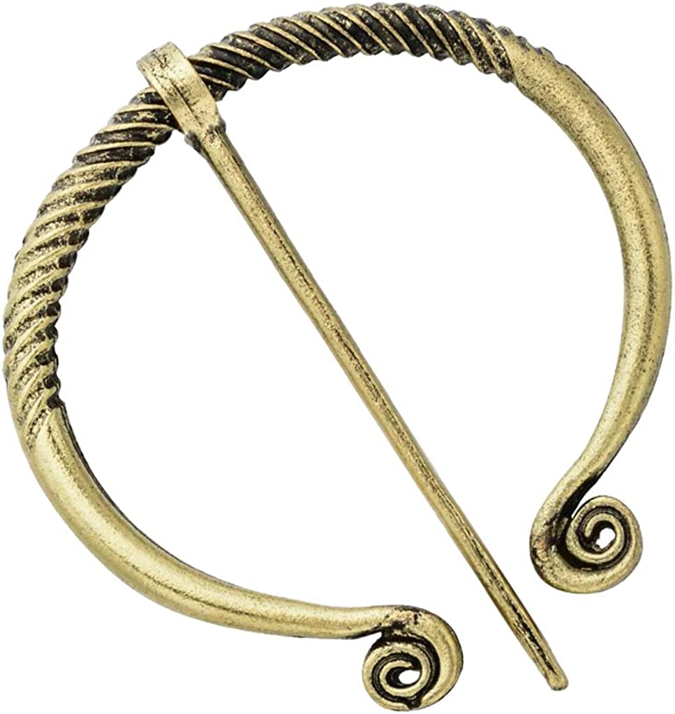 W WOOGGE 3 Pack of Bronze Irish Viking Penannular Brooch Buckle Clasp Clothes Fasteners Cloak Pin Viking Brooch Medieval Viking Jewelry