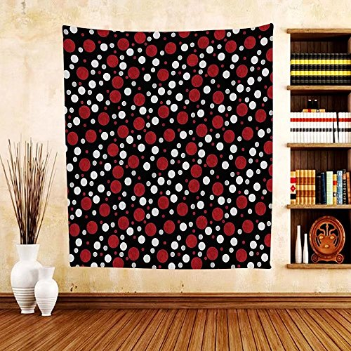 Gzhihine Custom tapestry Red and Black Tapestry Retro 60s 70s Cartoon Snow Like Polka Dots Circles Rounds for Bedroom Living Room Dorm White Light Grey and - Outlets Monroe Prime