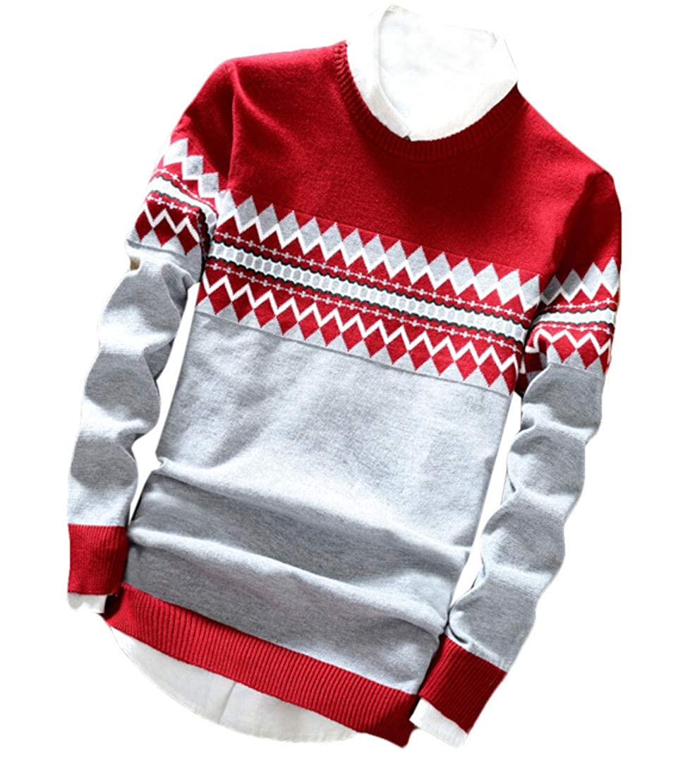 Nanquan Men Pullover Slimming Knitted Print Crew-Neck Long Sleeve Sweater