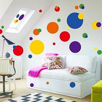 BIBITIME Multicolored Polka Dot Wall Decals Removable Stickers Decor Mural  Nursery Children Kids Art