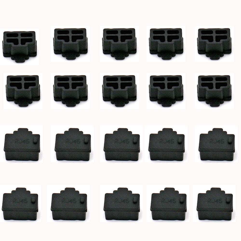 Ohaha ブラックイーサネットハブポートRJ45 アンチダストカバーキャッププロテクタープラグ RJ45メスジャック用 16個   B07QQQLTZ5
