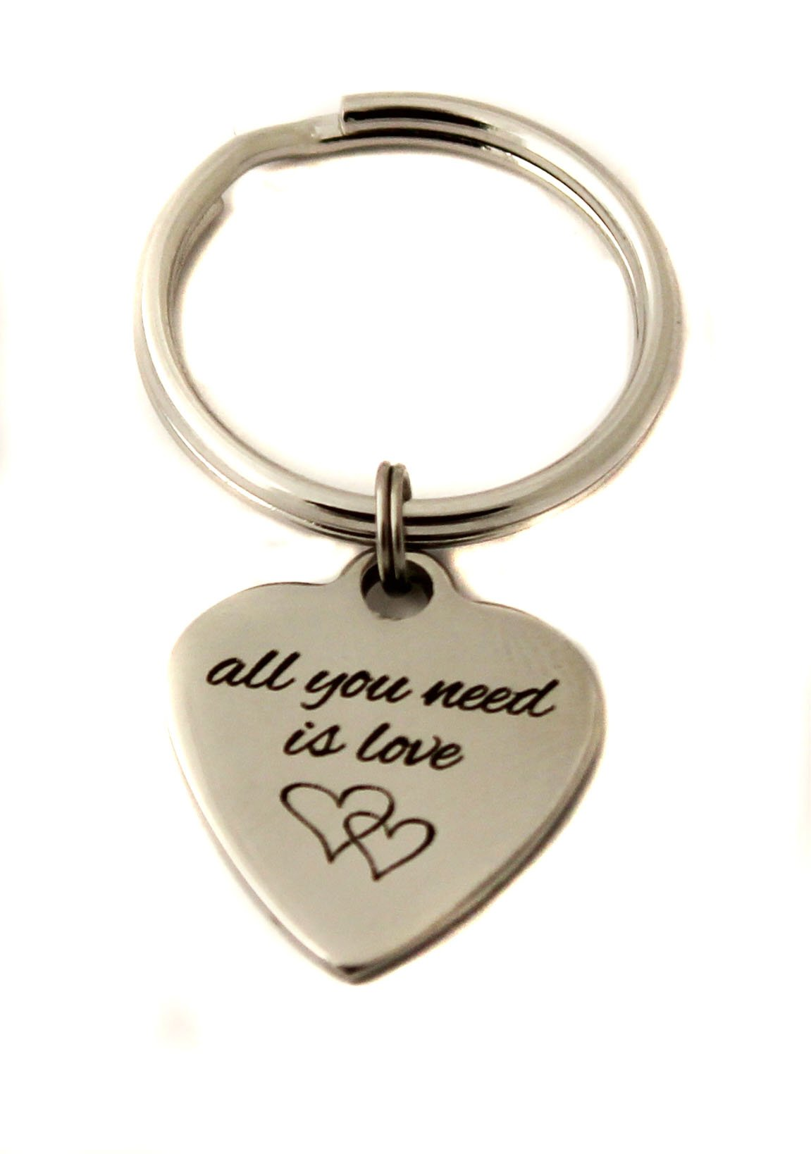 Stainless Steel All You Need Is Love Heart Charm Keychain Bag Charm Wedding Gift