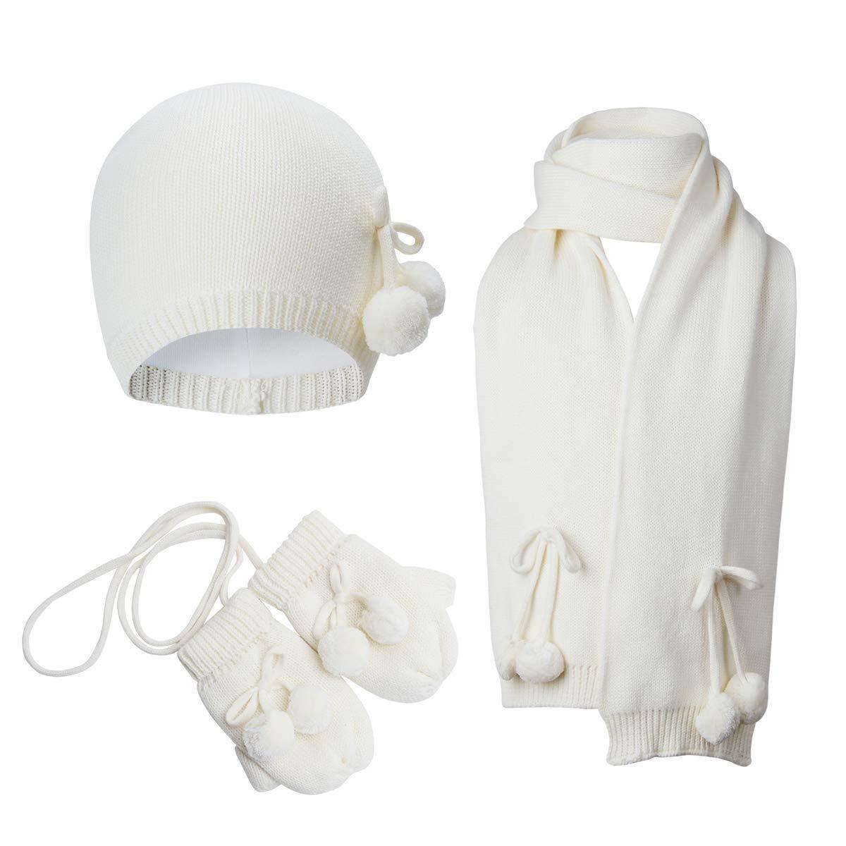 Vivobiniya Toddler Baby Girl Hat Scarf Gloves 3pcs/Set 0-4years Old Cream (2-4years Old(18.8-20.4in), hat1+Scarf+ Gloves) 6624