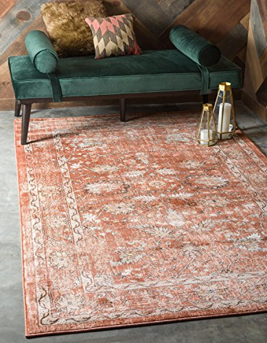 (Unique Loom Oslo Collection Distressed Botanical Tradtional Brick Red Area Rug (6' x 9'))