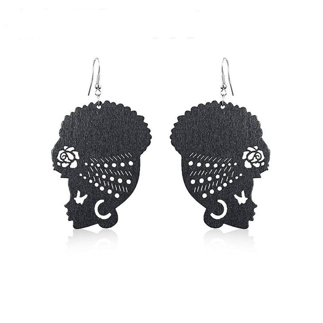 KISSFRIDAY Black Wooden Female Portrait African Turban Shaped Earrings Jewelry Gift