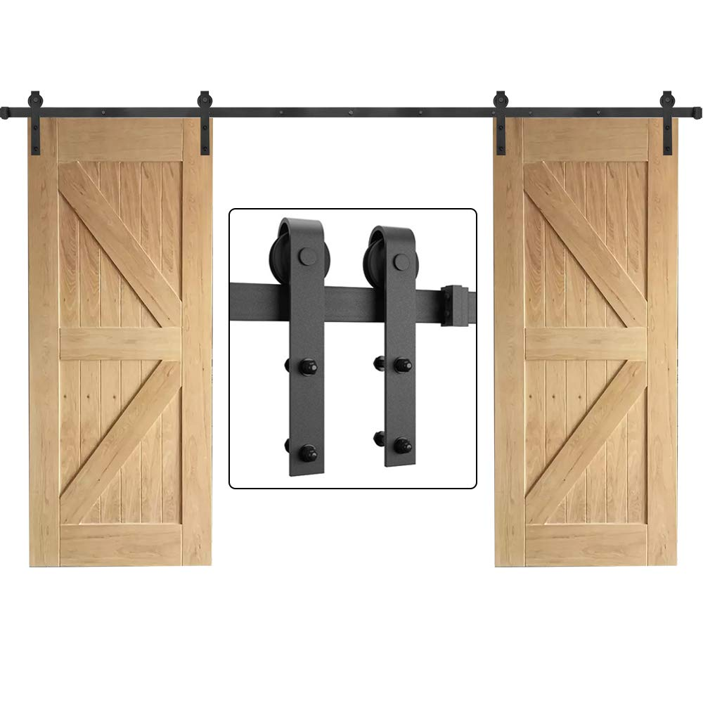 12FT Sliding Door Hardware Kit for Barn Doors Carbon Steel- Ultra Smoothly and Quietly Design-Easy Installation-Fit Double Wide Door Panel-(J Shape Hanger,Double Door;Black)