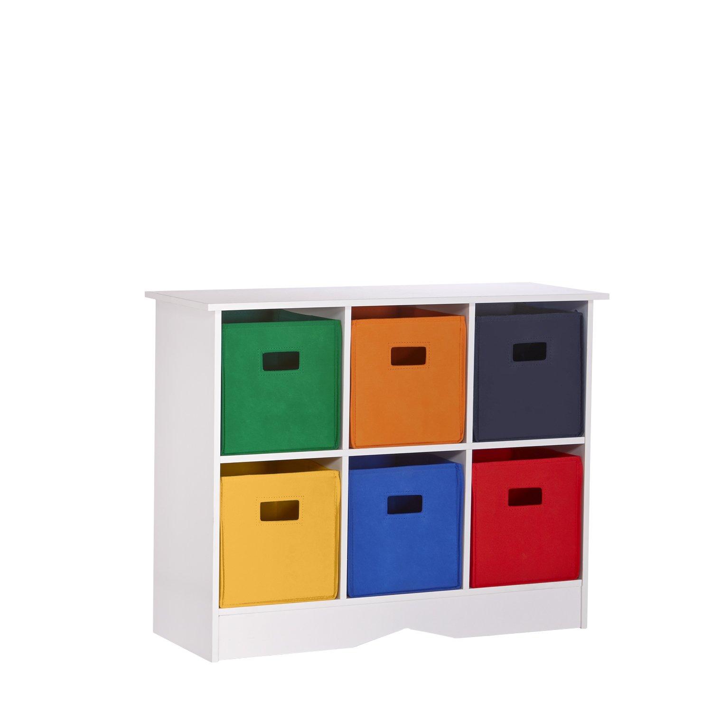 Amazon.com: RiverRidge Kids Cabinet with 6 Primary Bins, White ...