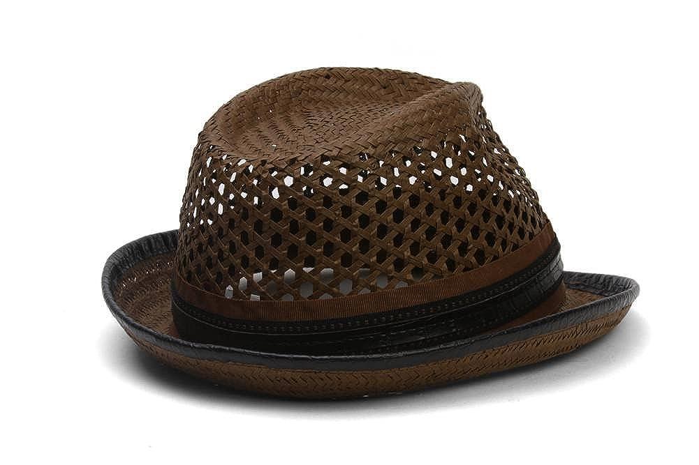 6093520b1cb44 Santana Ribbon and Leatherette Trim Fedora Hat at Amazon Men s Clothing  store  Carlos Santana Hat