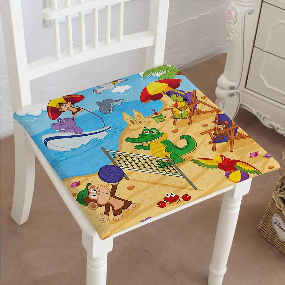 Classic Decorative Chair pad Seat Style Animals Playing on Beach Monkey Hippo Dolphin Exotic Summer Illustration Multicolor Cushion with Memory Filling 22''x22''x2pcs