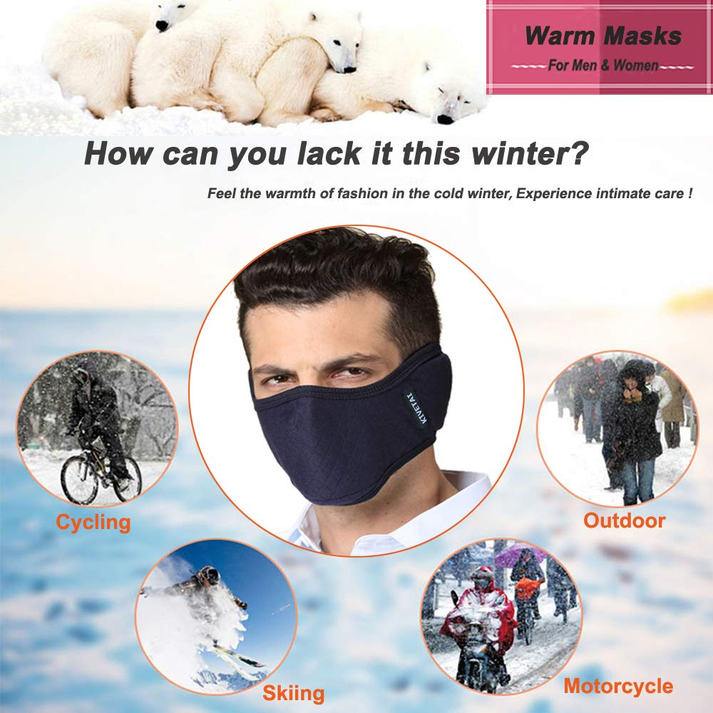 Half Face Mask Ski Mask Wind-poof Mouth Mask Winter Warmer Dust Mask with Earmuffs Adjustable for Adults for Motorcycle, Cycling, Skiing, Snowboard, Hiking, Outdoor Activities (Indigo)