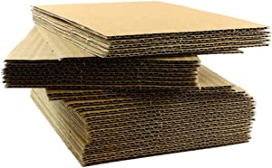"100 EcoSwift 12x12 Corrugated Cardboard Filler Inserts Sheet Pads 1/8"" Thick 12 x 12"