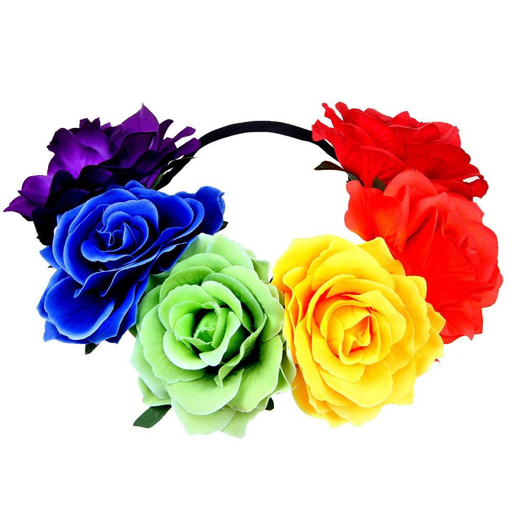 Women's Rainbow Wave Wig Long Gloves Socks 8Layered Tail Tutu Skirt Floral Headband Set (B) by ECOSCO (Image #6)