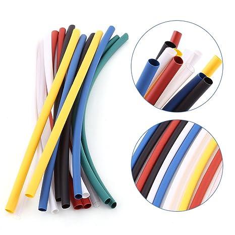 Juego de 70 tubos termorretráctiles de 5 tamaños surtidos, 2:1, sin halógenos, juego de tubos retráctiles, 7 colores