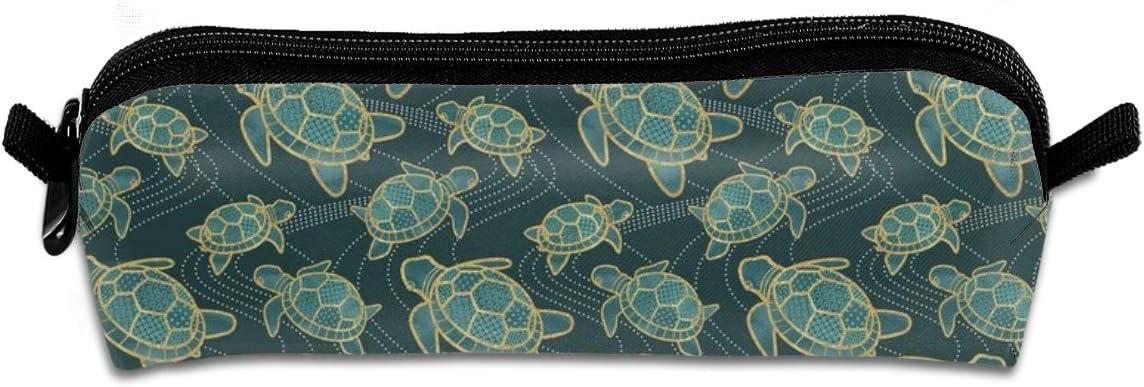 Estuche de lona para lápices japoneses de tortuga de estanque de color verde azulado bolsa para bolígrafos de papelería, organizador multifunción con cremallera para suministros de escuela y oficina
