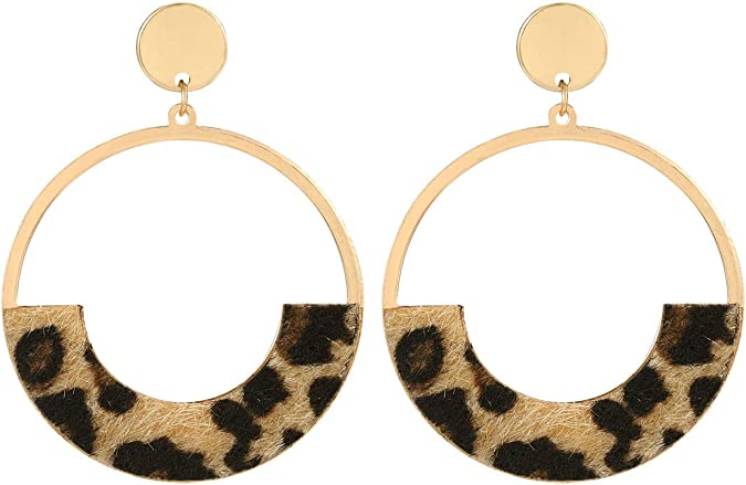 Large size pink leopard print cork on leather petal shape earrings