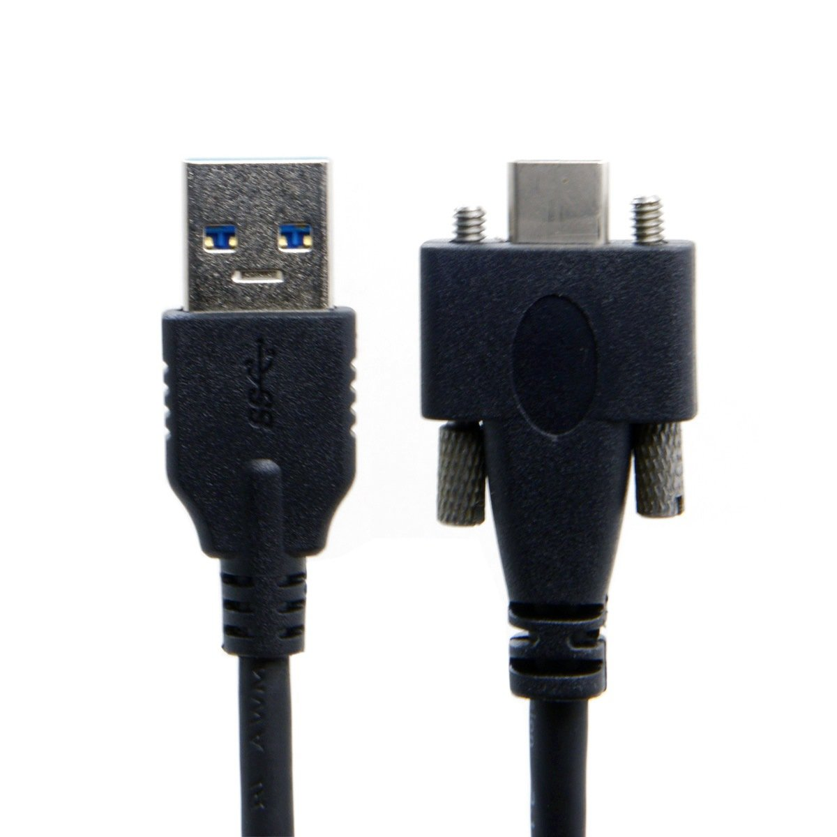 JSER USB 3.1 Type-C Dual Screw Locking to USB-C 10Gbps Data Cable 1.2m Panel Mount Type
