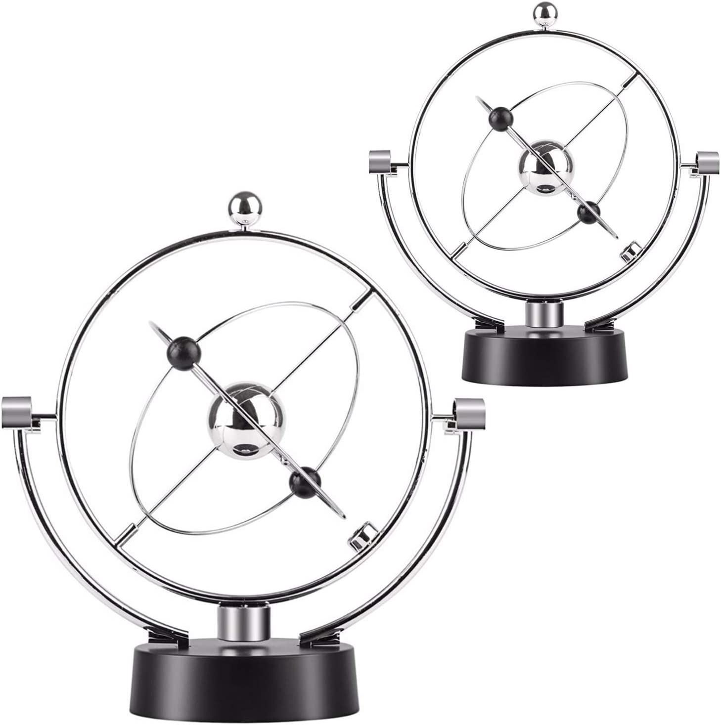 Kicko Kinetic Orbital Perpetual Motion Desk Toy - 2 Pack, 7 Inch - for Home, School and Office Decoration, Learning and Education, Party Favors - 7 Inches