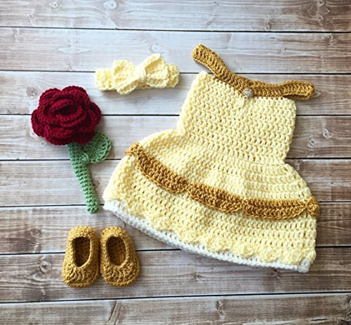 Princess Belle Beauty and the Beast Inspired Costume/Crochet Princess Belle Dress/Princess Photo & Amazon.com: Princess Belle Beauty and the Beast Inspired Costume ...