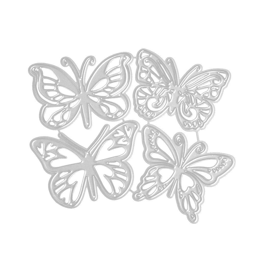 OurLeeme 4 PCS Troqueles de Corte de Metal Diferentes Troqueles de Corte de Forma de Mariposa para Hacer Tarjetas Decorativas