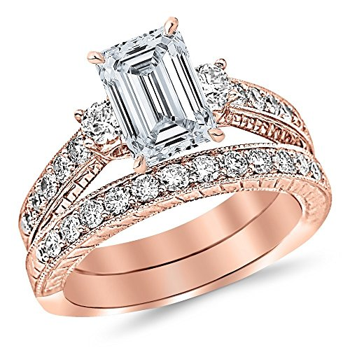 (14K Rose Gold 1.62 CTW Three Stone Vintage With Milgrain & Filigree Bridal Set with Wedding Band & Diamond Engagement Ring w/ 0.59 Ct GIA Certified Emerald Cut F Color SI1 Clarity Center)