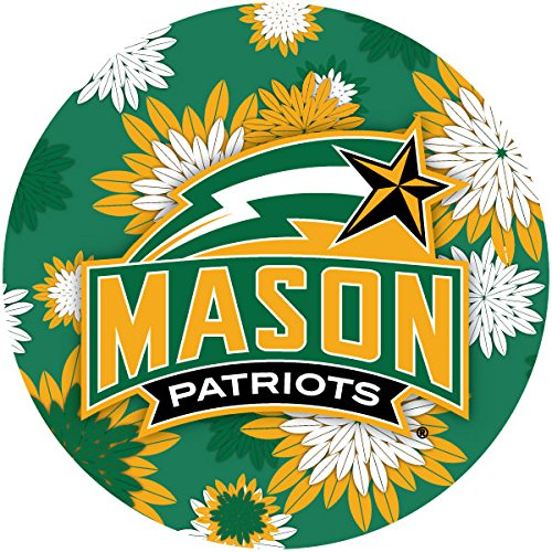 R and R Imports, Inc George Mason University Patriots NCAA Collegiate Trendy Floral Flower Fashion Pattern 4 Inch Round Decal Sticker