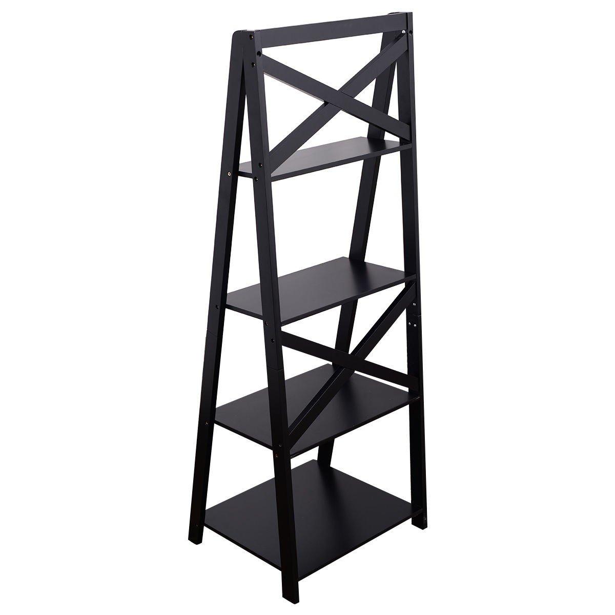MyEasyShopping Black 4-Tier Ladder Space-saving Bookshelf Storage Bookshelf Bookcase Shelf Wood 4 5 Wooden Furniture Book Shelving Adjustable 3 Shelves Tier Display Organizer Home Cabinet
