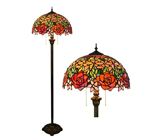 size 40 03ca2 3b8e9 GAOLIQIN Retro Tiffany-Style Floor Lamp,Stained Glass Floor ...