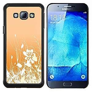 """Be-Star Único Patrón Plástico Duro Fundas Cover Cubre Hard Case Cover Para Samsung Galaxy A8 / SM-A800 ( Diseño floral blanco anaranjado Flores Campo"""" )"""