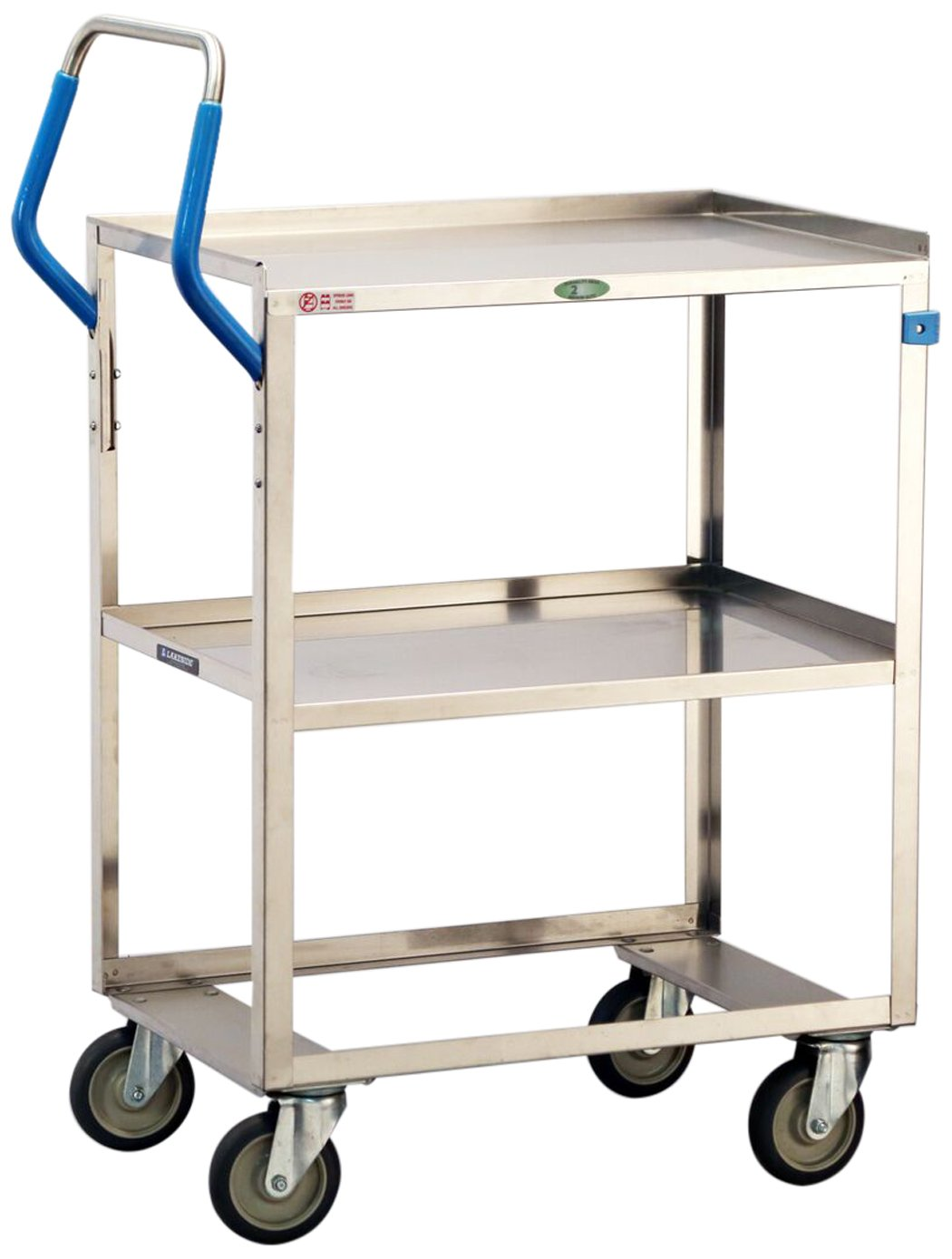 Lakeside 6810 ERGO-ONE Series Stainless Steel Utility Cart 500 lb. Capacity, 2 Shelves, 19'' x 31-1/8'' x 44-3/8''