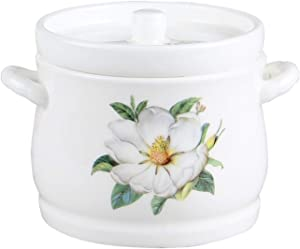 SEYMM Household kitchen ceramic slow cooker stew ginseng tonic cup small bird's nest stew binaural bowl with lid SEYMM (Color : Magnolia, Size : 10x15.5x7.1CM)