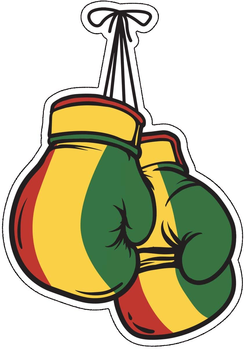 Rasta Boxing Gloves Decal - Jamaican Sticker - Perfect for Laptops Tumblers Windows Cars Trucks Walls