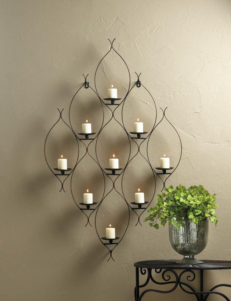 GHP 22 5/8'' x 3'' x 36 3/4'' Iron Ambit Wall Decor 9 Candle Holder